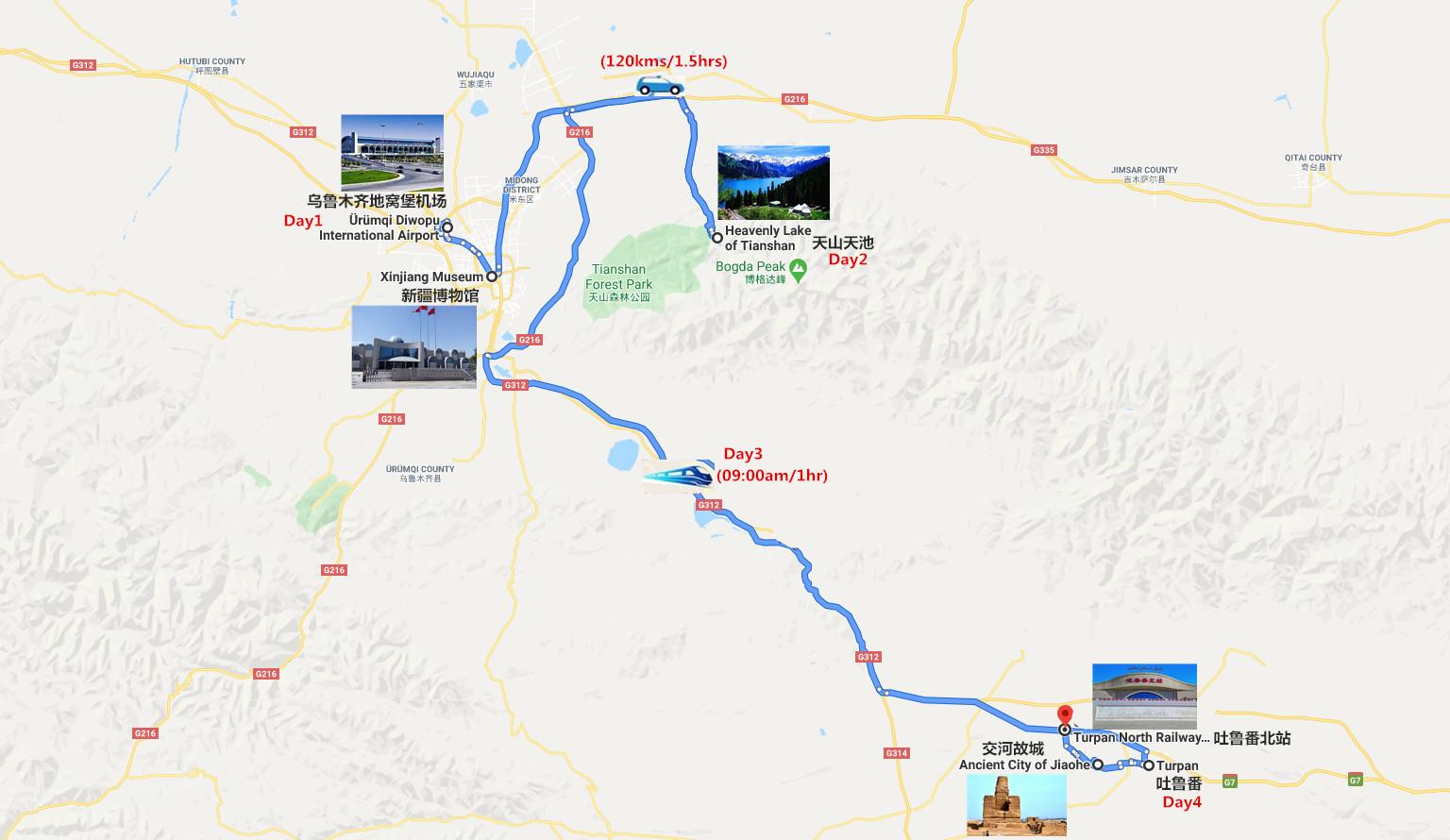 4 Days Urumqi to Turpan Tour Travel Map