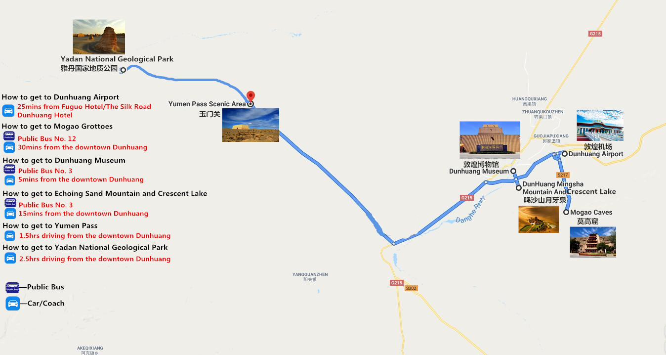5-Days Dunhuang Adventure to Mogao Grottoes and Yardan Landform Park Travel Map