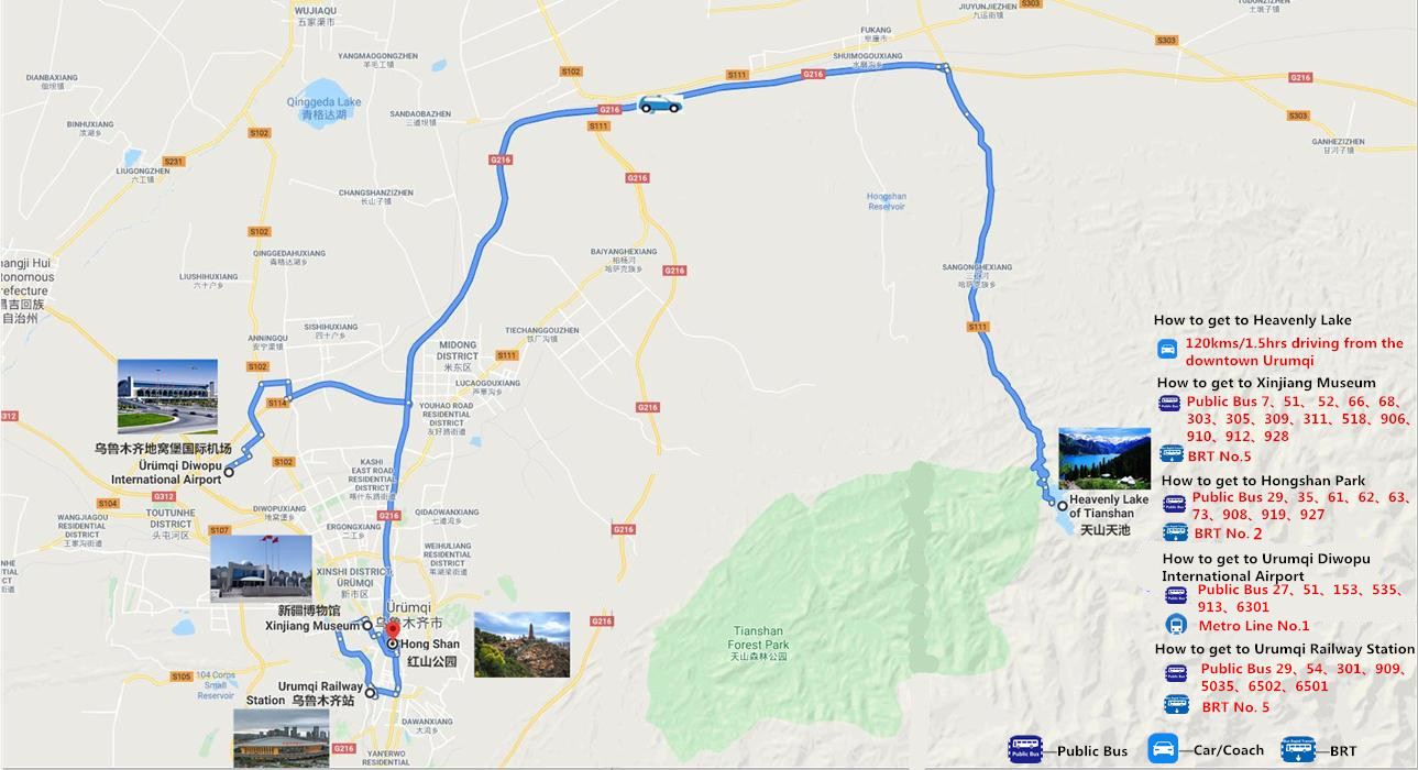 2 Days Urumqi and Heavenly Lake Tour Travel Map