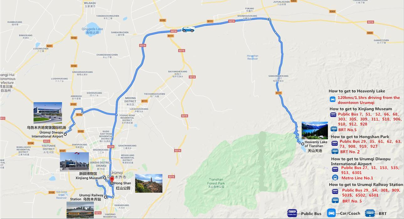 2 Days Urumqi and Heavenly Lake Tour Travel Map