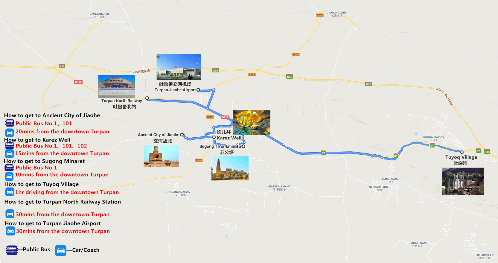 Private Turpan Day Tour Travel Map