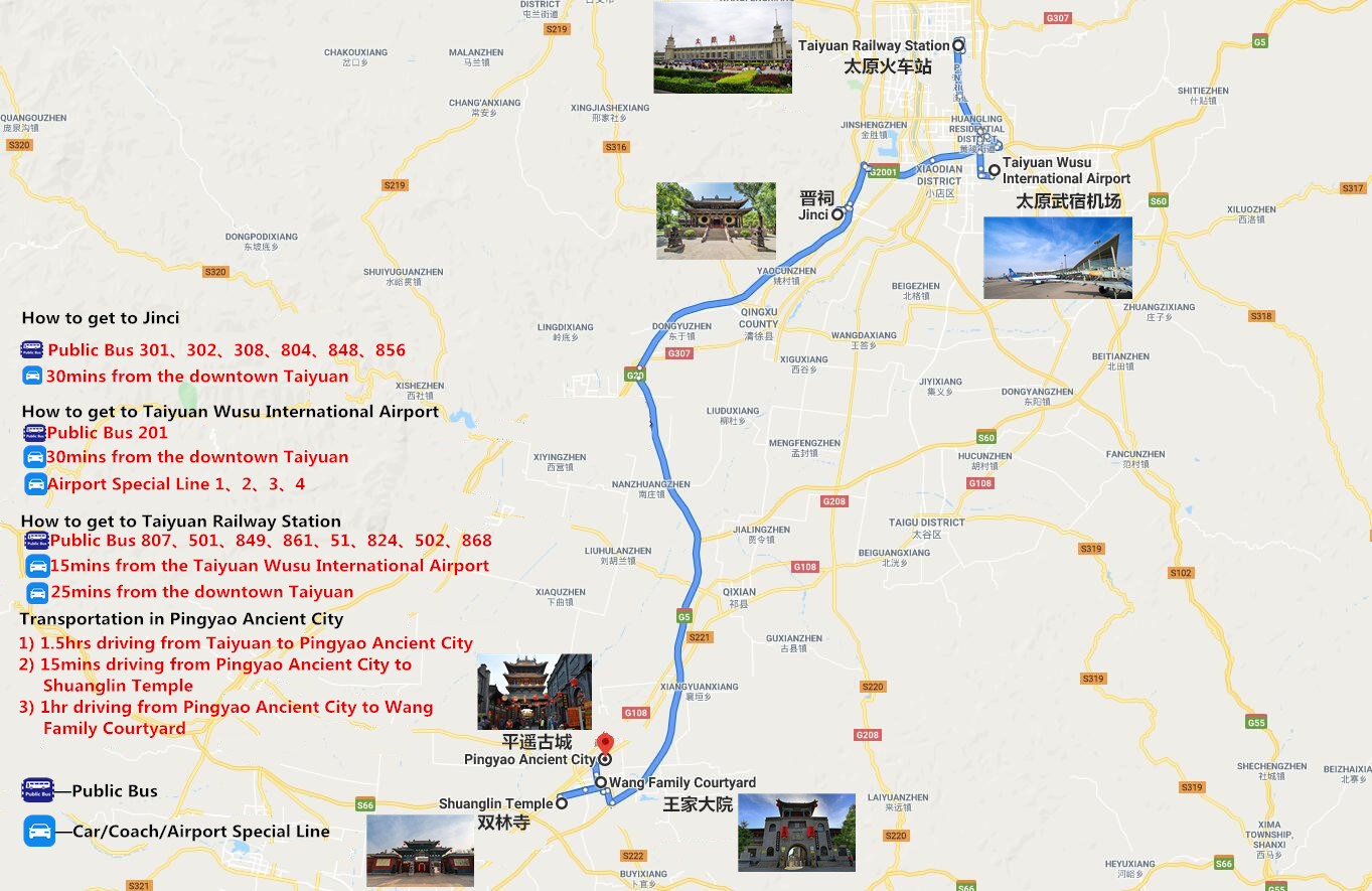 3 Days Taiyuan Pingyao Tour Travel Map