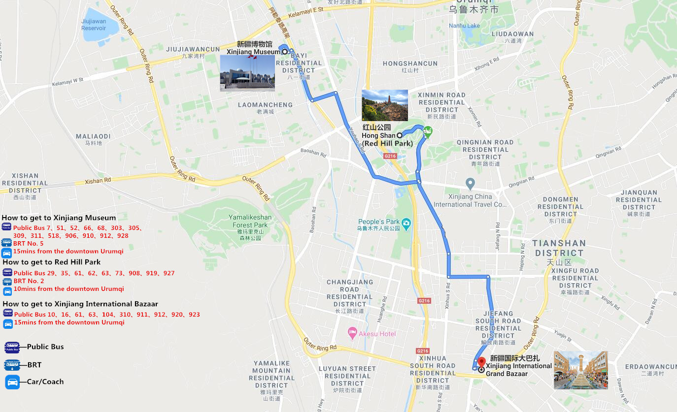 Urumqi Downtown Private Tour with Professional Driver Travel Map