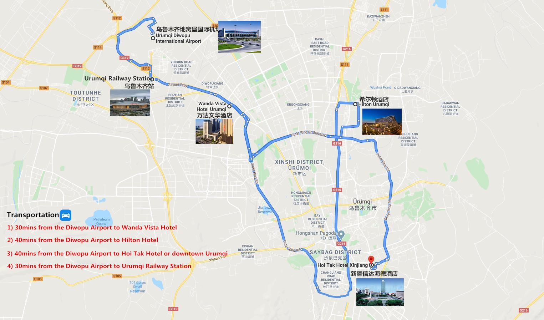 Private Urumqi Airport Transfer Travel Map