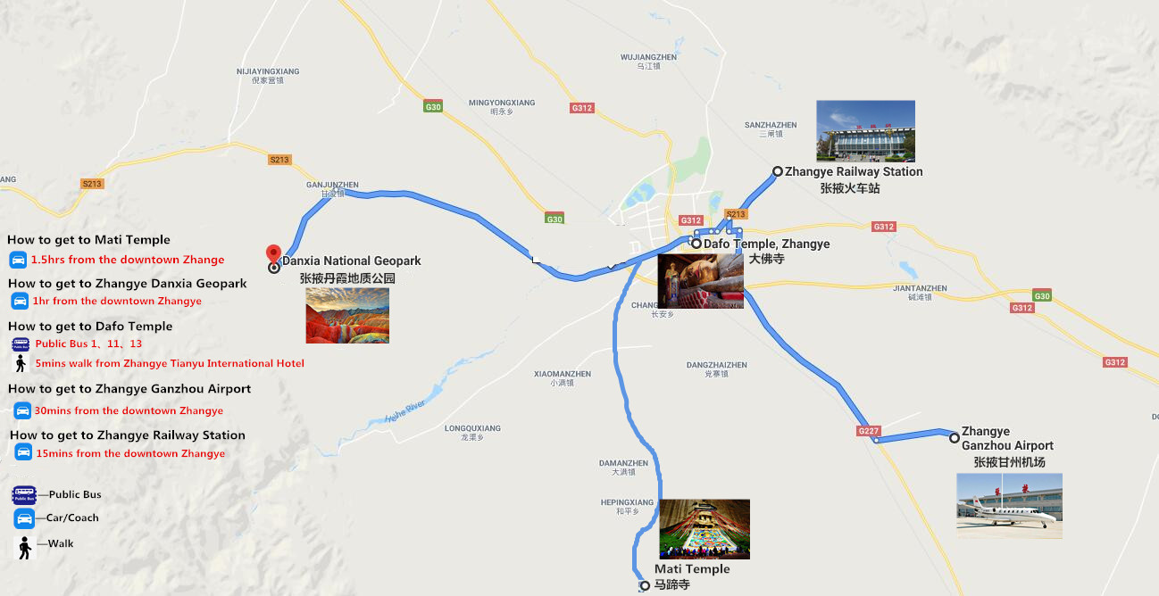 Private Zhangye City Tour Travel Map