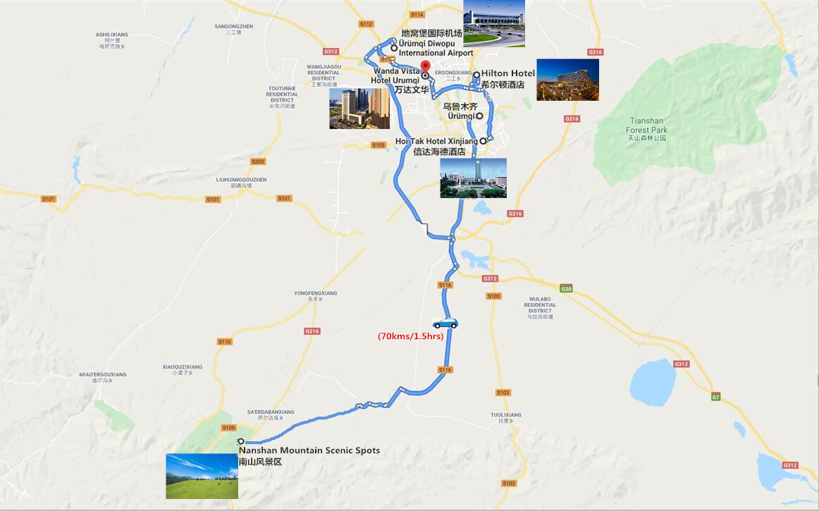 Urumqi Nanshan Pastureland Tour Travel Map