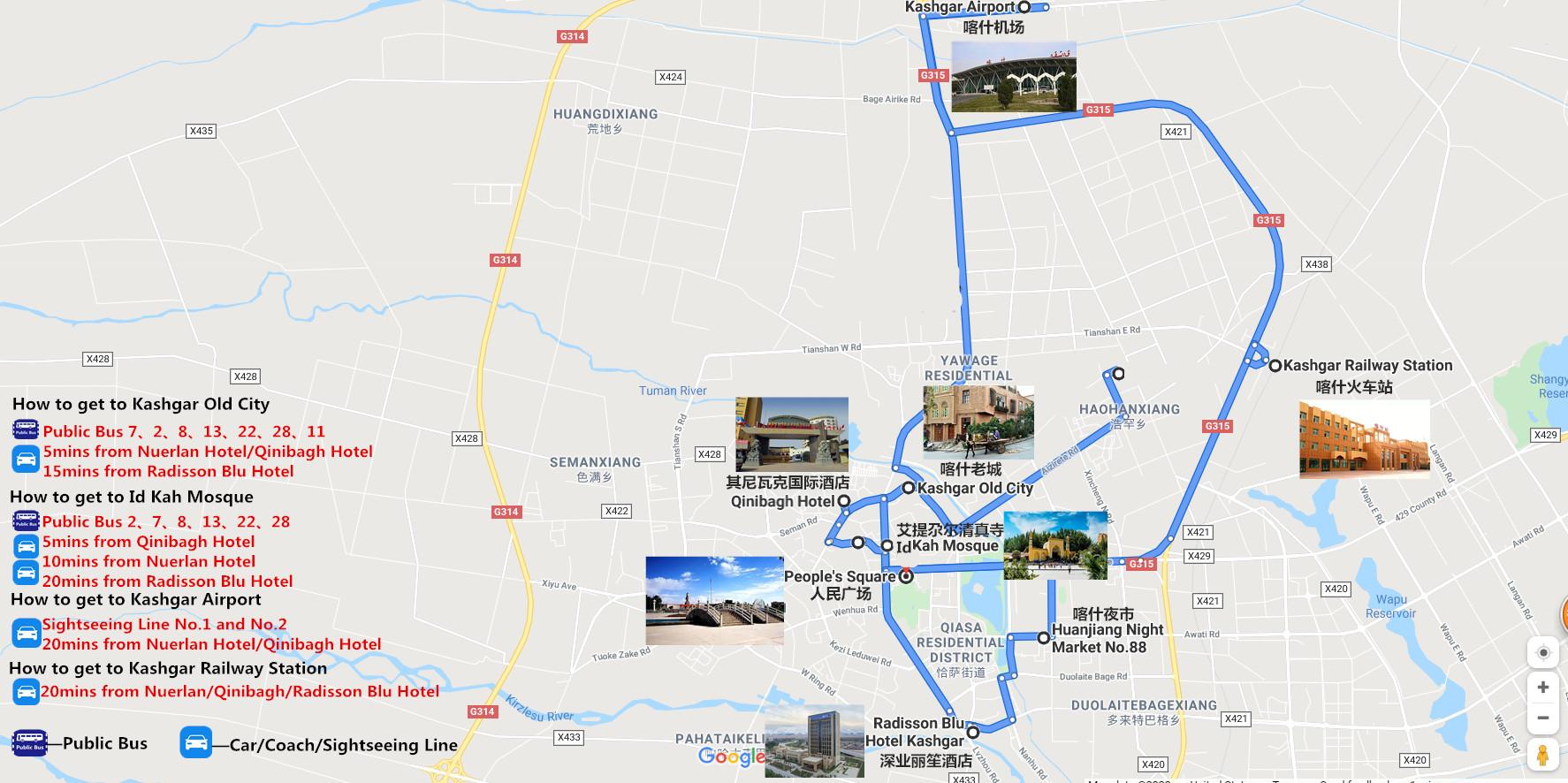 Private Kashgar City Tour Travel Map