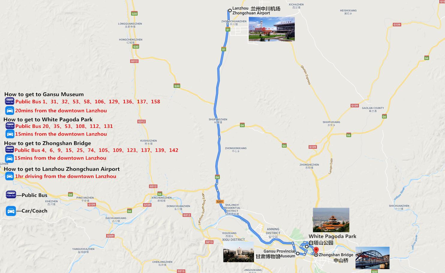 Private Lanzhou City Tour Travel Map