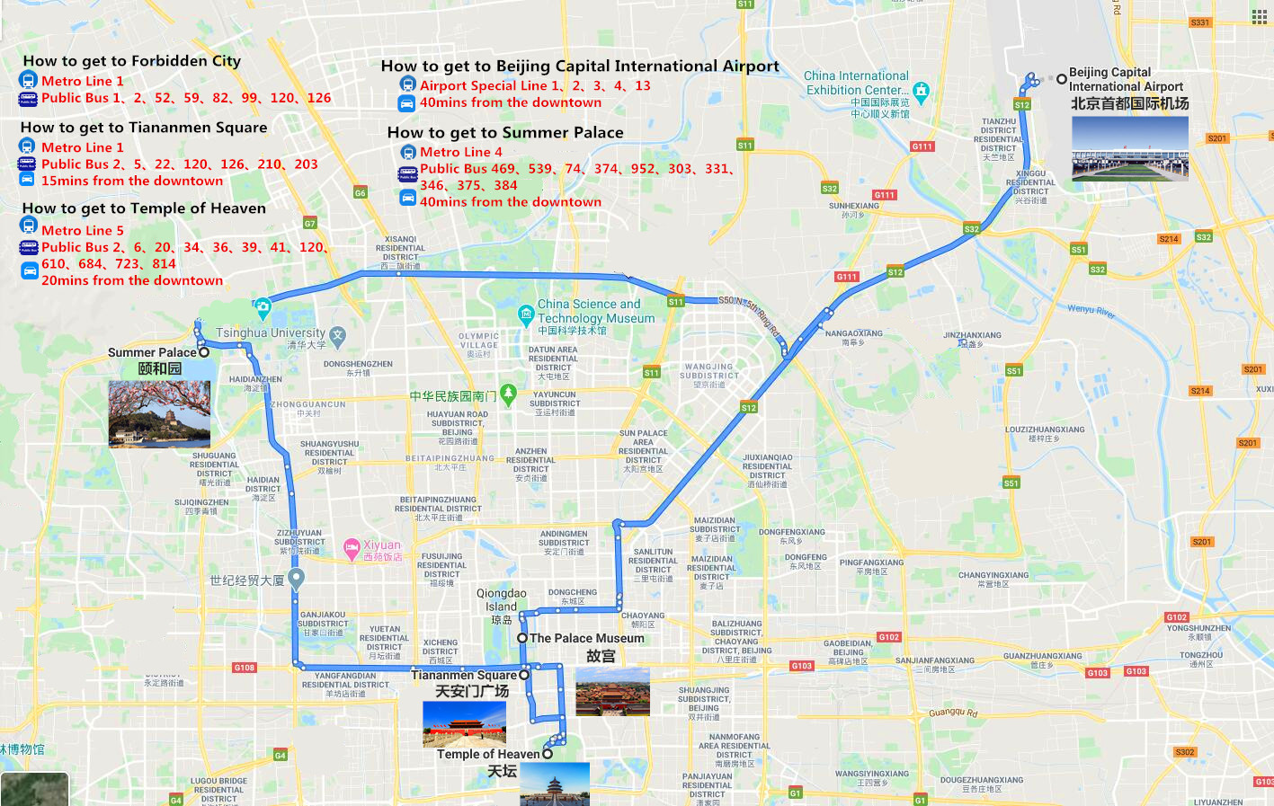 Private Beijing City Tour Travel Map