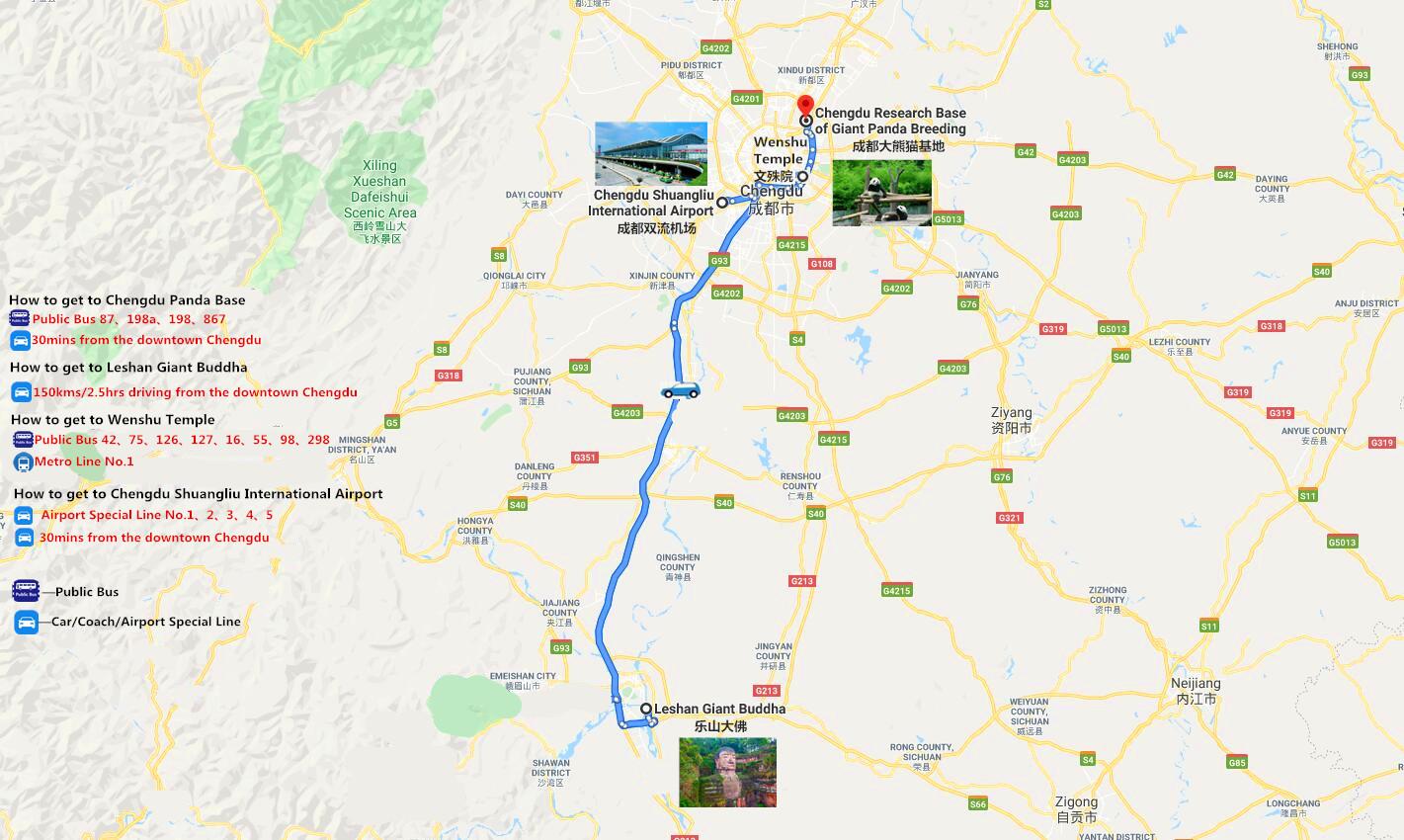 2 Days Chengdu Tour Travel Map