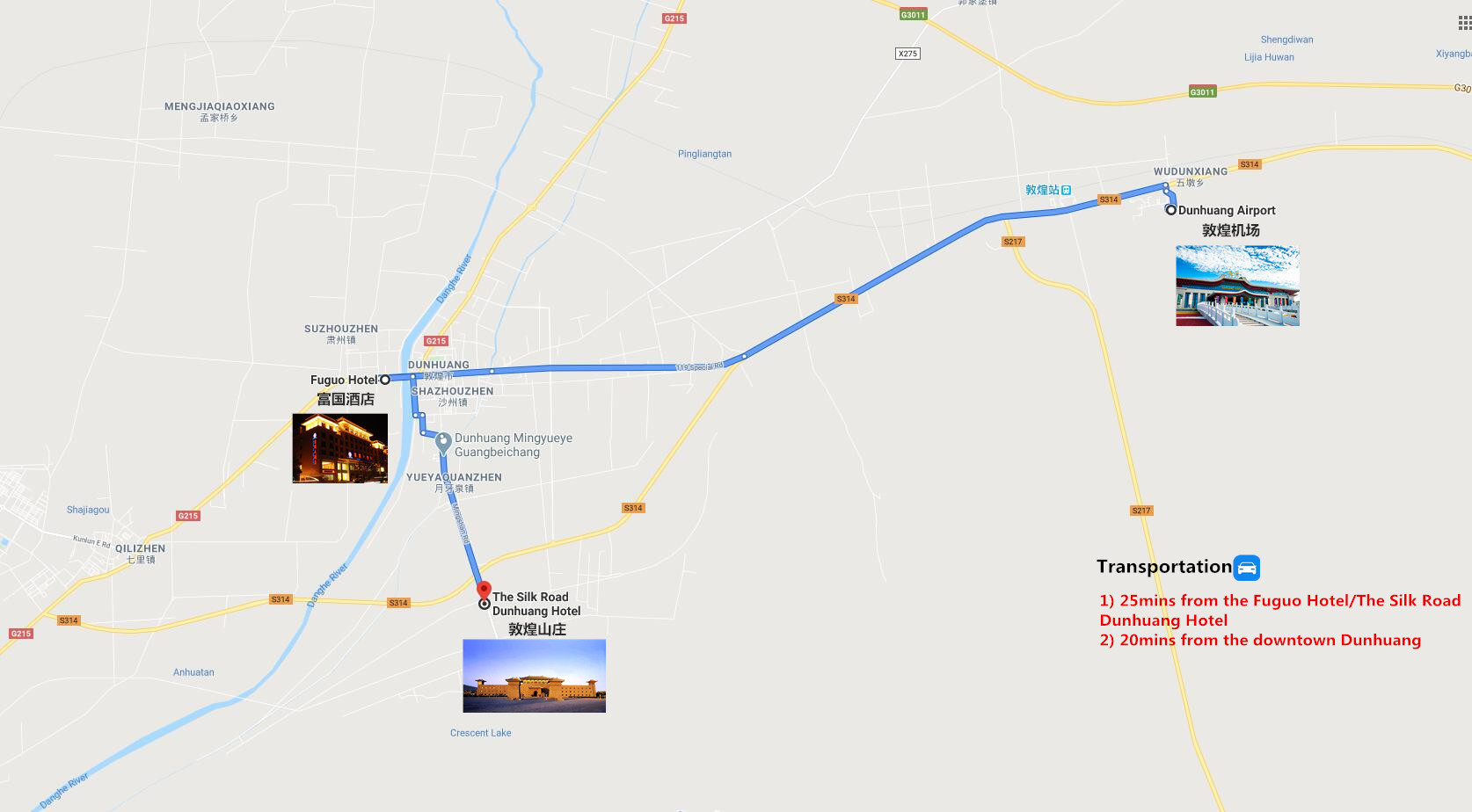 Private Dunhuang Airport Transfer Travel Map