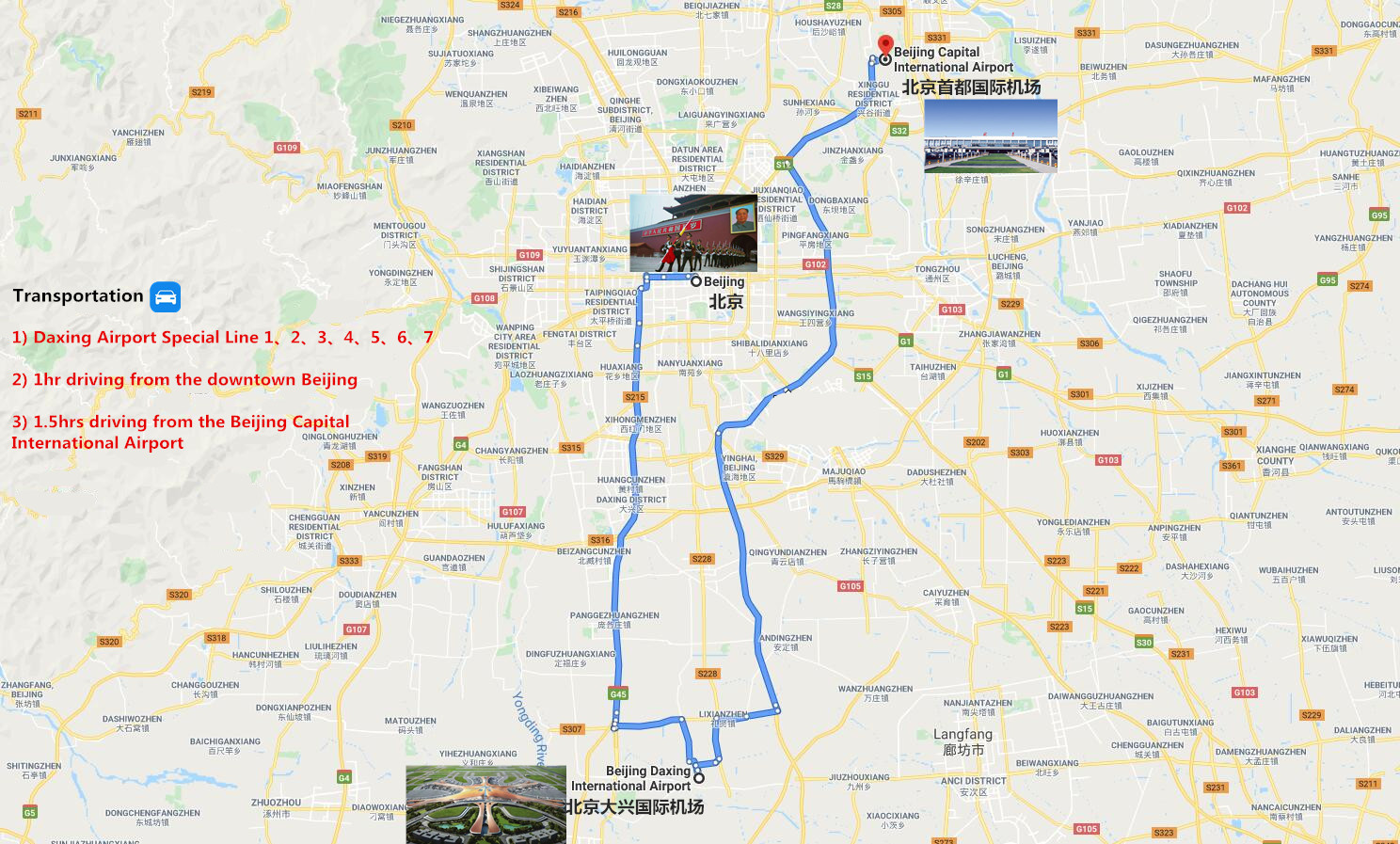 Private Beijing Daxing International Airport Transfer Travel Map