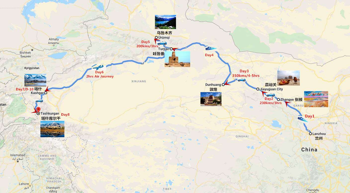 Silk Road Tour for Expats in China Travel Map