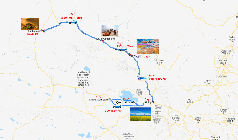 Qinghai Lake Zhangye and Dunhuang Tour Travel Map