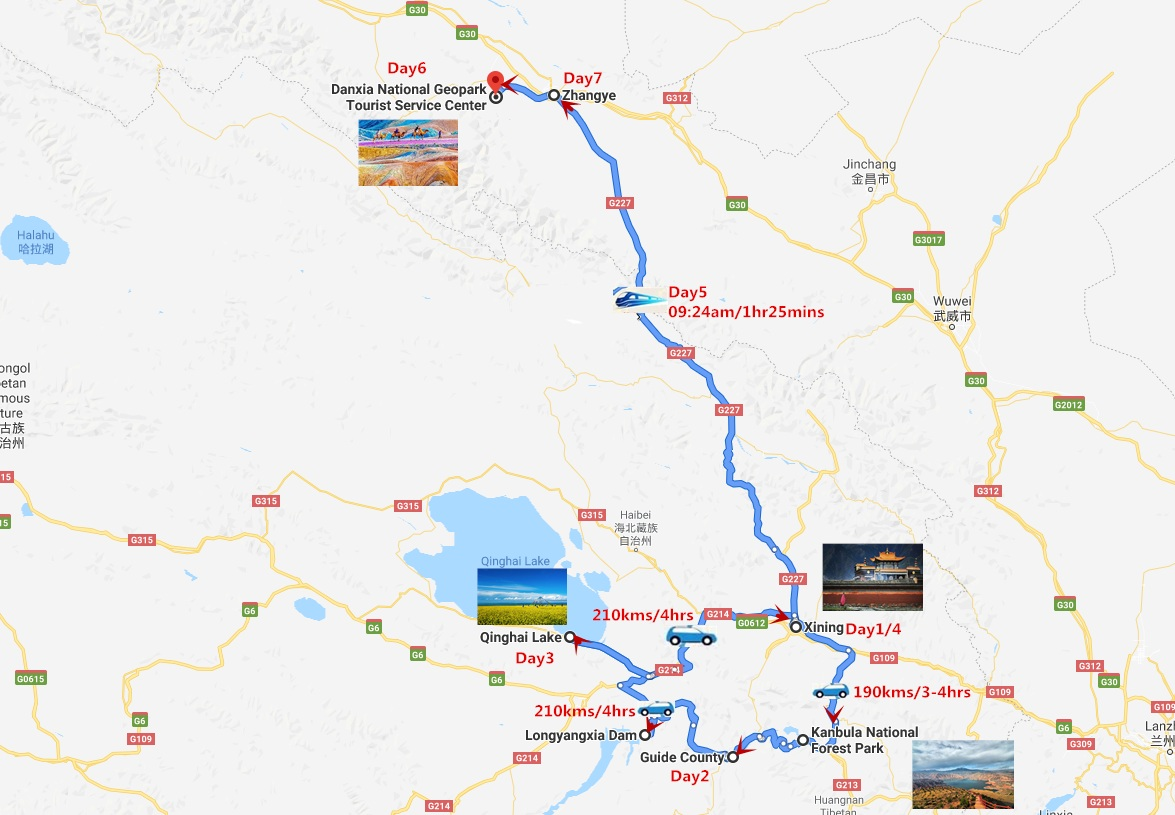 Qinaghai Xining and Zhangye Tour Travel Map