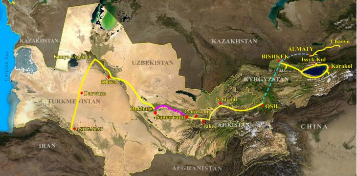 20D 5Stans of Kyrgyzstan, Kazakhstan, Uzbekistan, Tajikistan, Turkmenistan Travel Map