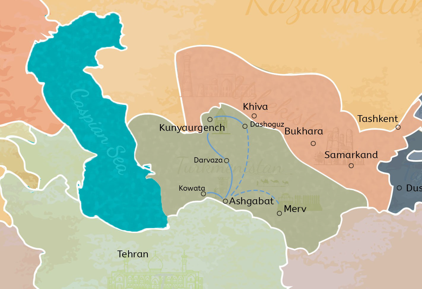 7 Days Turkmenistan Natural Wonders and Ancient Ruins Exploration Travel Map