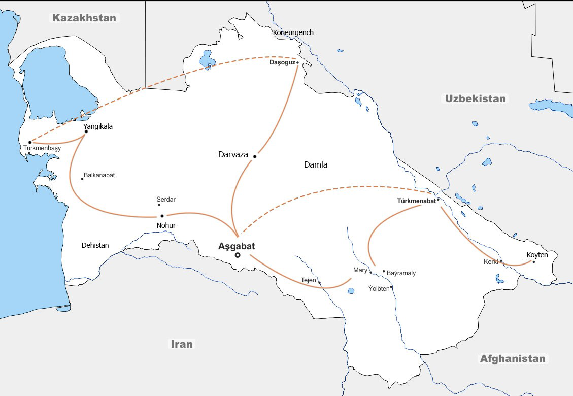 12 Days Panoramic Turkmenistan Tour in and out from Ashgabat Travel Map