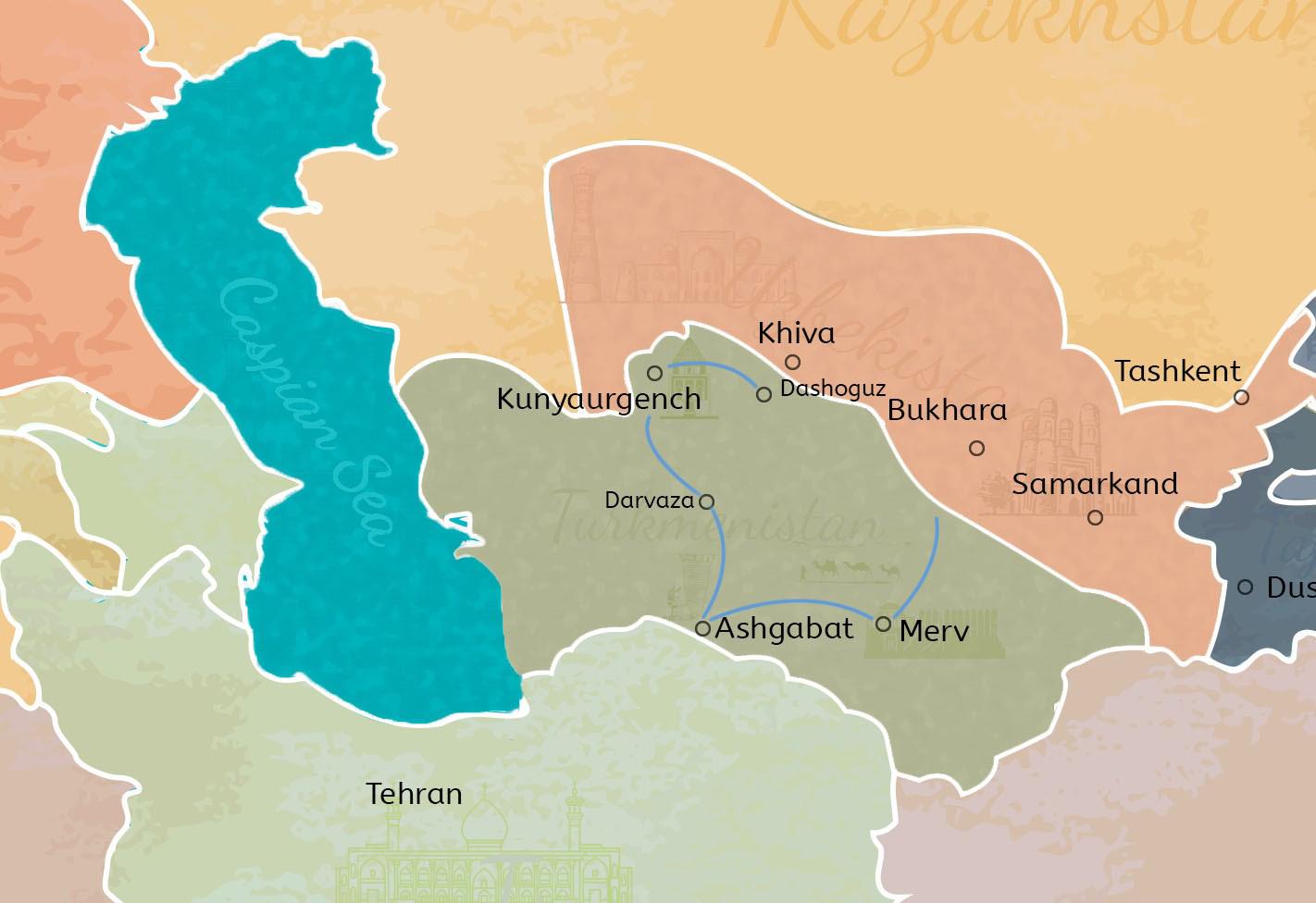 4 Days Turkmenistan Tour with Border Transfer Travel Map