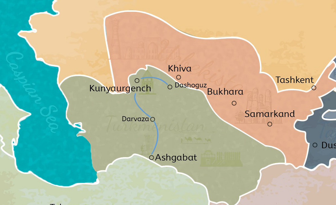 3 Days Turkmenistan Tour from Shavat Border to Ashgabat Travel Map