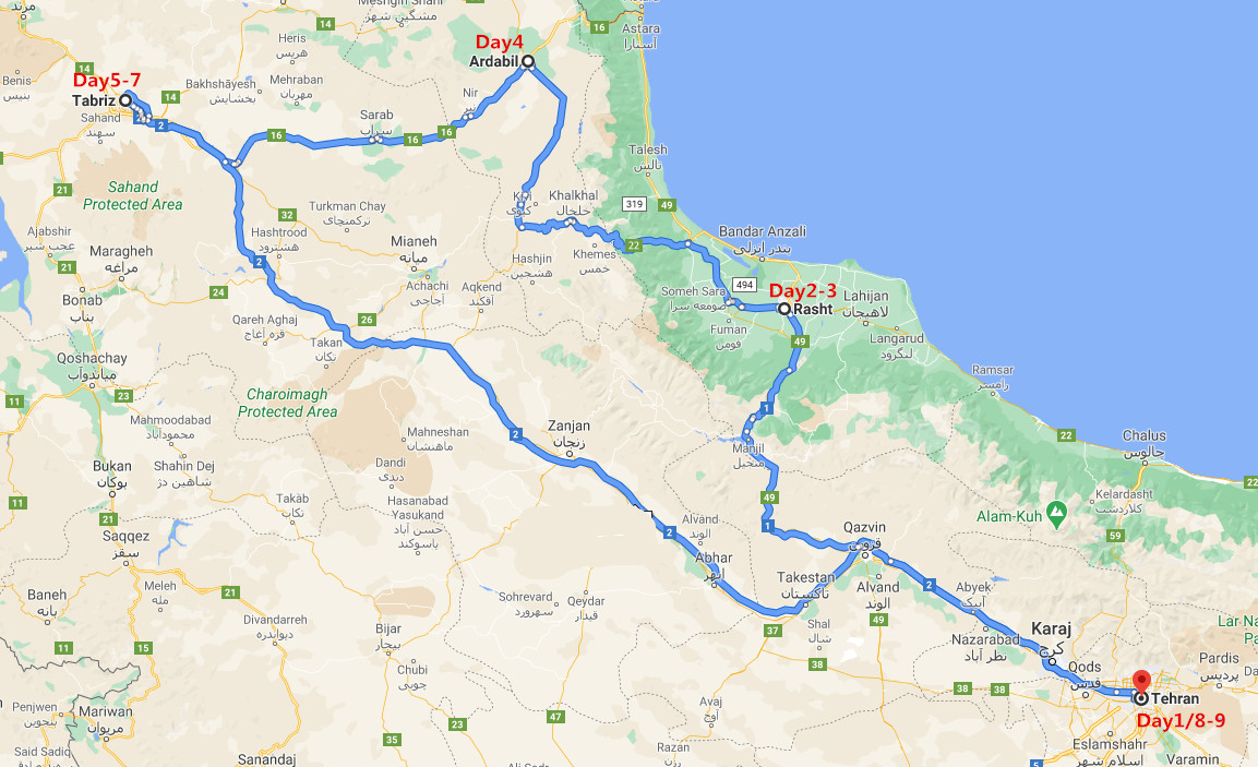 9 Days West Asia Tour to Iran Travel Map