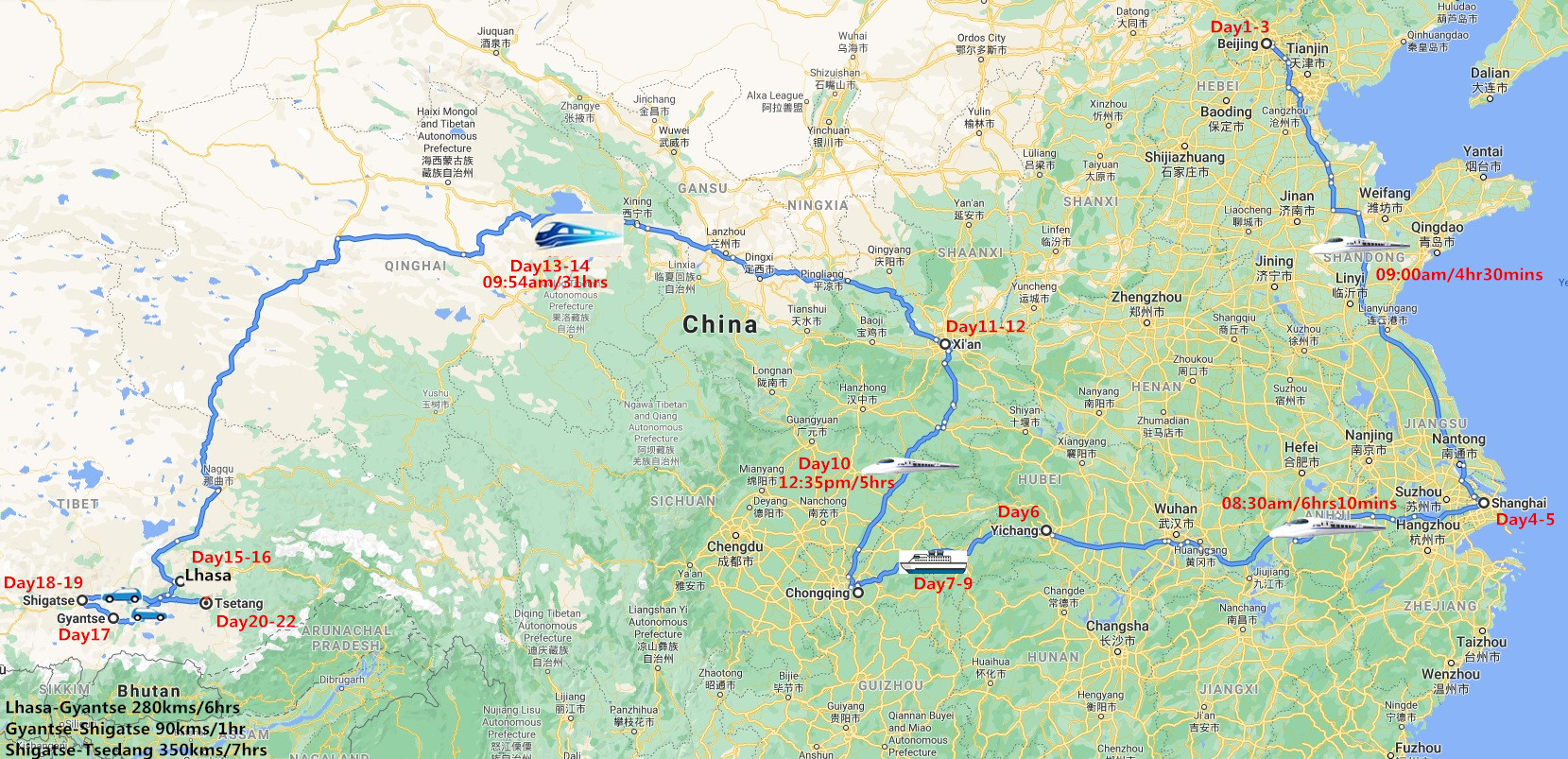 22 Days China Adventure Tour with Yangtze River Cruise Travel Map