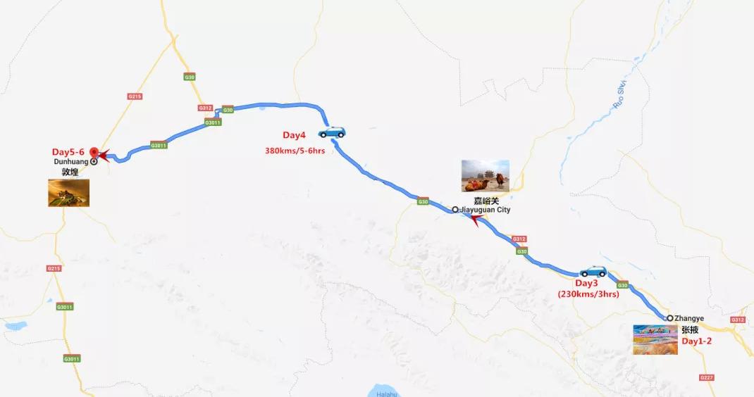 6 Days Gansu Silk Road to Rainbow Mountain & Mogao Grottoes Travel Map