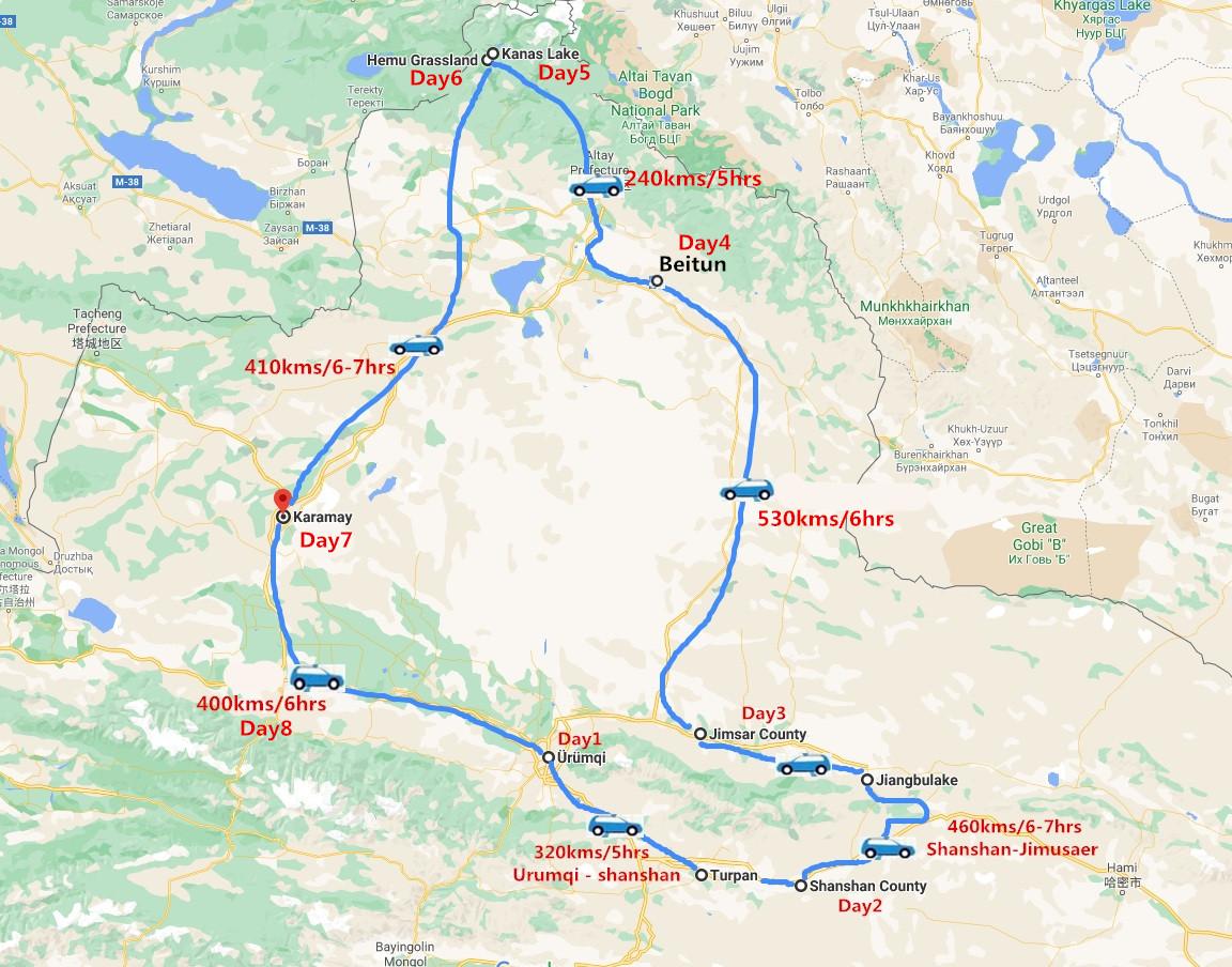 8 Days Amazing Natural Wonders Exploration of Xinjiang Travel Map